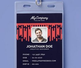 Corporate or Company Photo Identity Card PSD Template