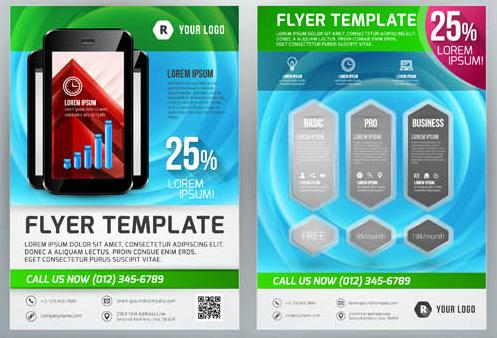 Creative Business Flyers 5 vector set