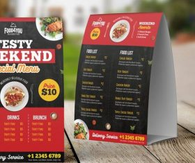 Creative Restaurant Table Tent Menu PSD Template