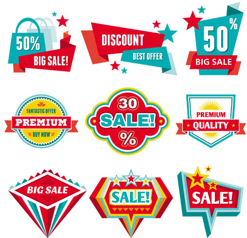 Creative Sale Stickers Mix shiny vector