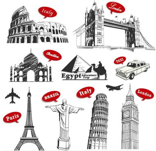 Creative Travel Labels vectors graphics