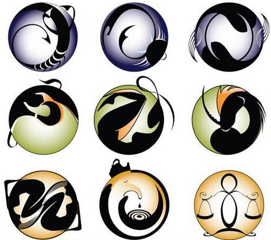 Creative Zodiac Symbols vectors material