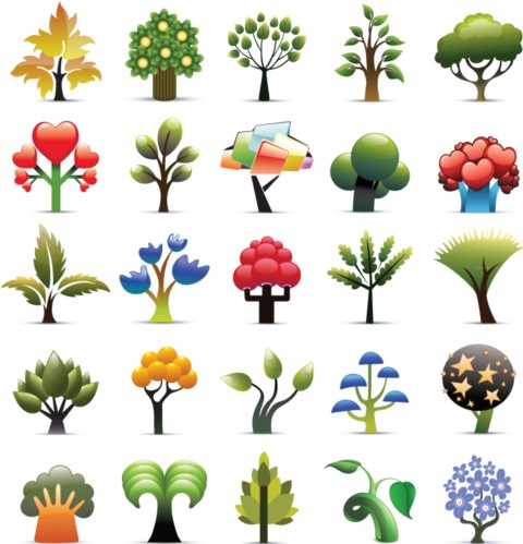 Creative cartoon trees vector