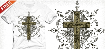 Cross tshirt design with floral ornament set vector