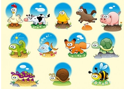 Cute Cartoon Animals Illustration vector