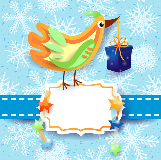 Cute Chick christmas background vector