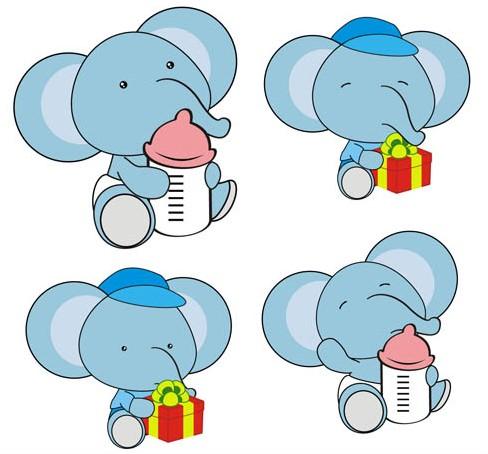 Cute Color Elephants vectors graphic