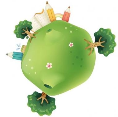 Cute Green Planet Illustration vector
