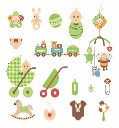 Cute Newborn Elements design vectors