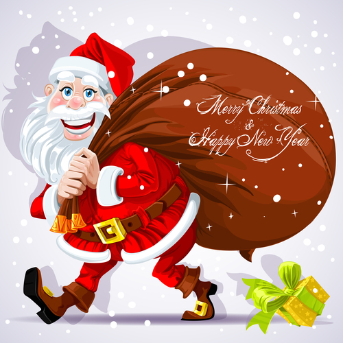 Cute Santa Claus carries bag of gifts and wishes vector