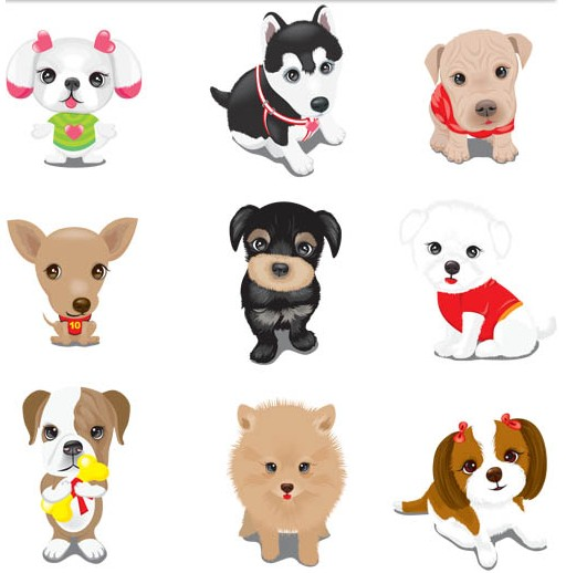 Cute Small Puppies vector free download