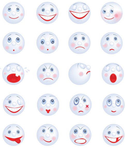 Cute White Smileys vector graphic