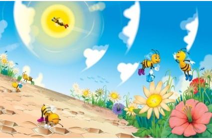 Cute cartoon bee Illustration vector