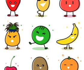 Cute cartoon fruit vector