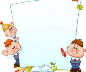 Cute children with paper school background vector 04