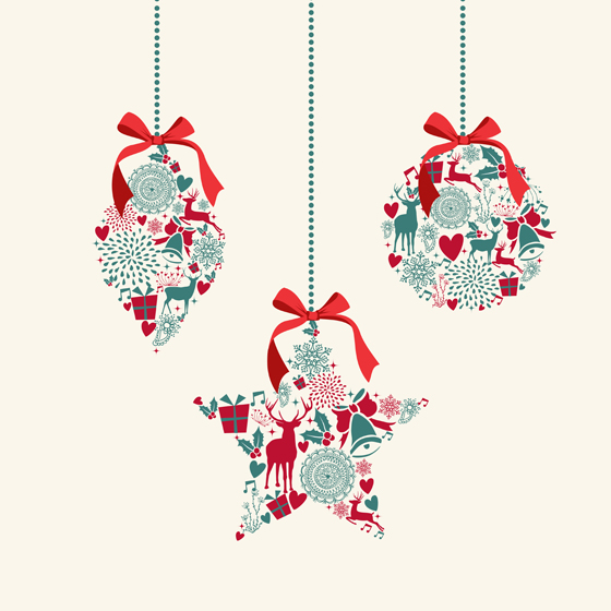 Cute christmas background elements 3 vector