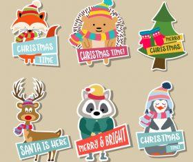 Cute christmas celebration sticker vector illustration 01