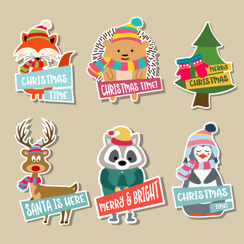 Cute christmas celebration sticker vector illustration 01