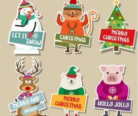 Cute christmas celebration sticker vector illustration 02