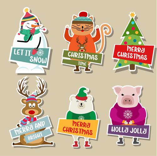 Cute christmas celebration sticker vector illustration 02
