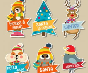 Cute christmas celebration sticker vector illustration 03