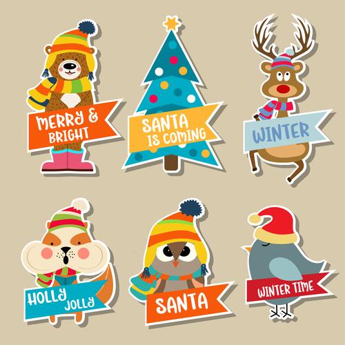 Cute christmas celebration sticker vector illustration 03