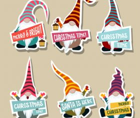 Cute christmas celebration sticker vector illustration 04