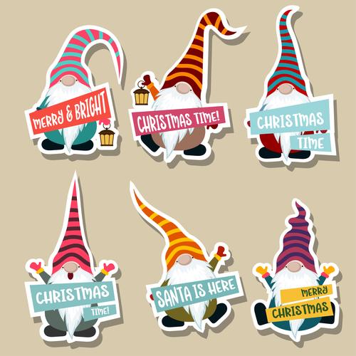 Cute christmas celebration sticker vector illustration 04