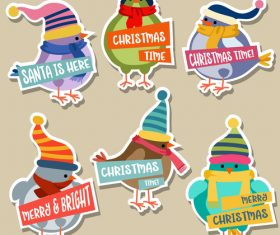 Cute christmas celebration sticker vector illustration 05