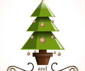 Cute christmas tree with 2019 new year design vector