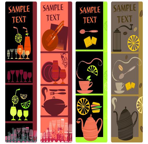 Cute coffee elements banner design vectors
