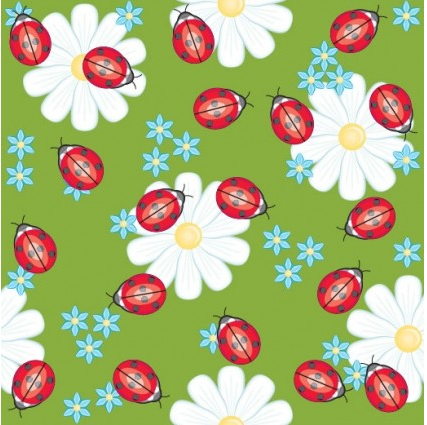Cute ladybug flowers background vector