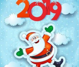 Cute santa with 2019 new year design vectors