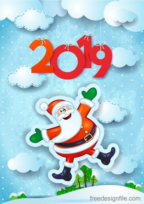 cute santa with 2019 new year design vectors