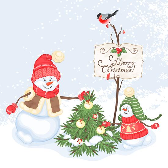 Cute snowman and christmas 2 vector