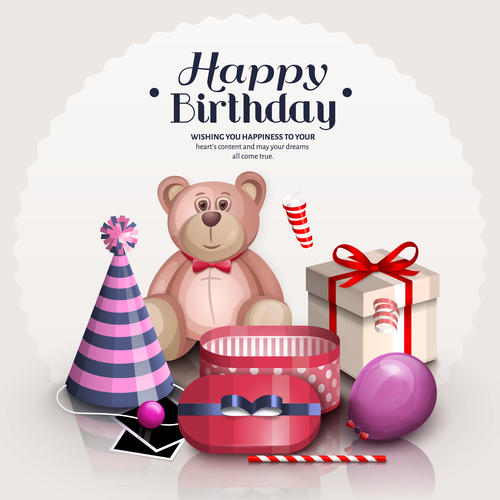 Cute Teddy Bear With Birthday Card Vectors 01 Free Download