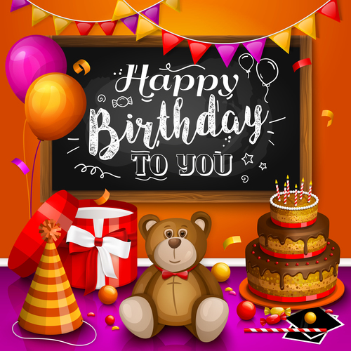 Cute Teddy Bear With Birthday Card Vectors 05 Free Download