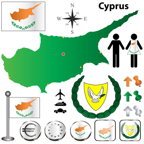 Cyprus elements shiny vector