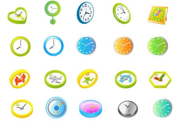 DIfferent Colored Clock vector