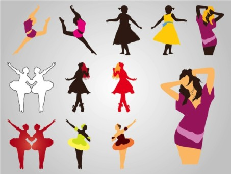 Dancing Girls Silhouettes set vector