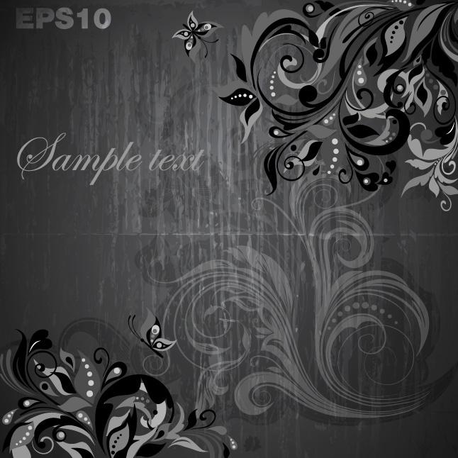 Dark floral background vectors