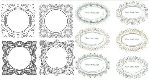 Decorative Vintage Frames 4 vector set