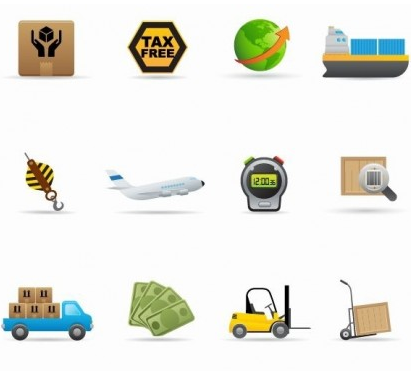 Delivery Icon Set shiny vector