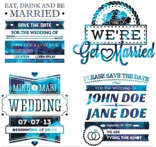 Different Blue Vintage Labels set vector