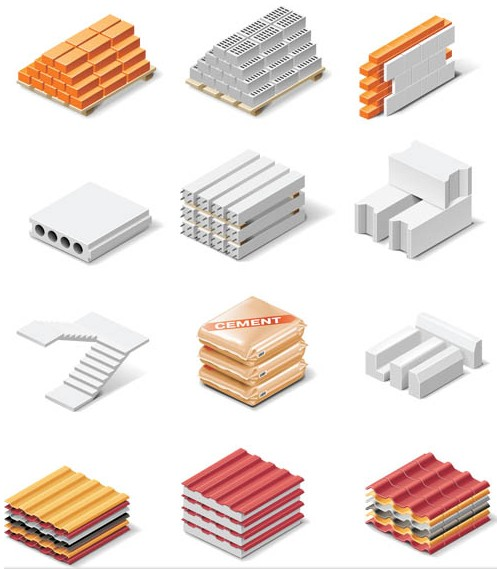 Different Building Materials vector