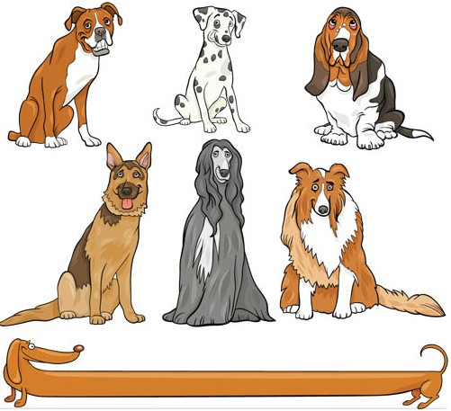 Different Dogs graphic vector material