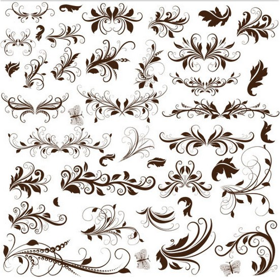 Different Floral Ornaments Vector vector