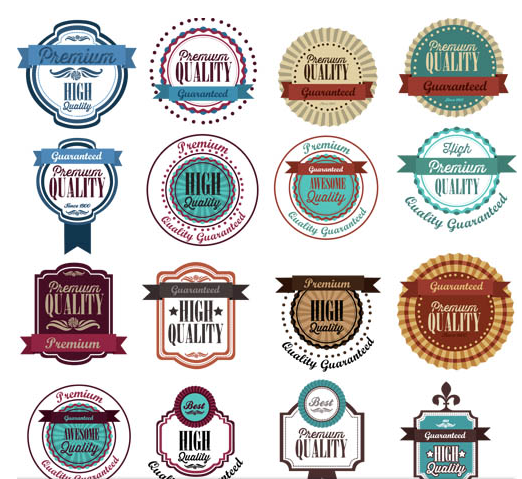 Different Food Retro Labels shiny vector