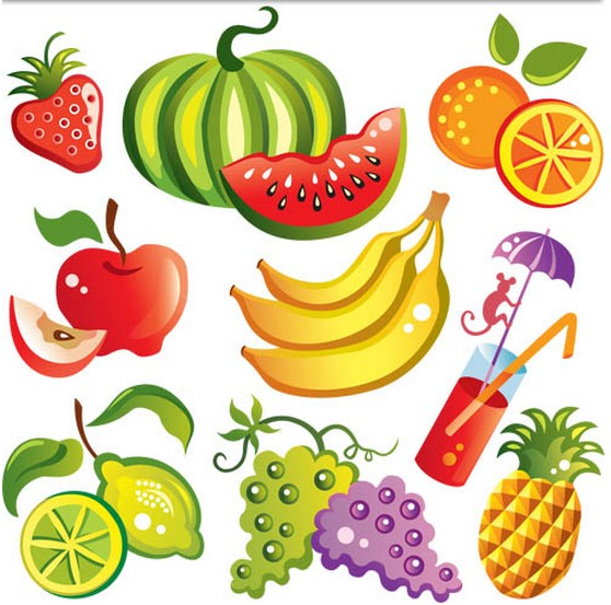 Different Fresh Fruits vector set