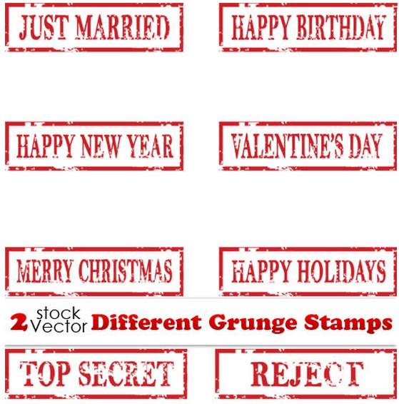 Different Grunge Stamps vector graphic